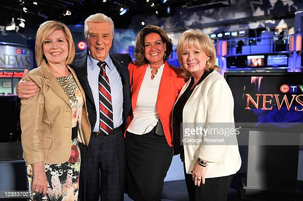 Sandie Rinaldo Lloyd Robertson Lisa LaFlamme and Pamela Wallin pose during Lloyd Robertson's final broadcast for CTV News after 35 years as the...