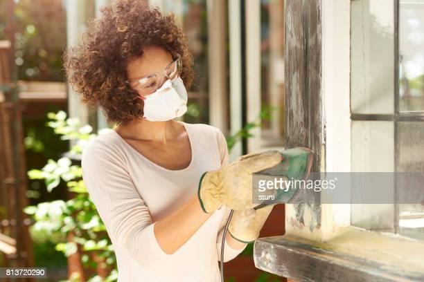 sanding wooden windows