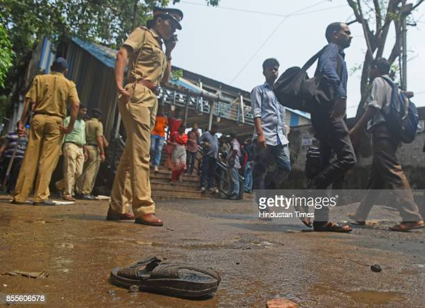 Sandle of one of the persons left over at the spot of the stampede at Elphinstone Road on September 29 2017 in Mumbai India Twentytwo people...