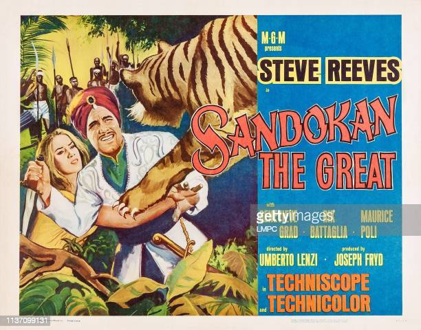 Sandokan The Great lobbycard from left Genevieve Grad Steve Reeves 1963
