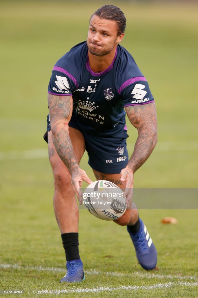 Sandor Earl passes the ball during a Melbourne Storm NRL training session at Gosch's Paddock on April 17, 2018 in Melbourne, Australia.