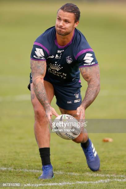 Sandor Earl passes the ball during a Melbourne Storm NRL training session at Gosch's Paddock on April 17 2018 in Melbourne Australia
