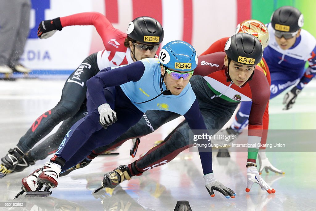 Sandor Liu Shaolin of Hungary and Denis Nikisha of Kazakhstan compete in the Men 500m semifinals during the ISU World Cup Short Track 2016 on December 18, 2016 in Gangneung, South Korea.