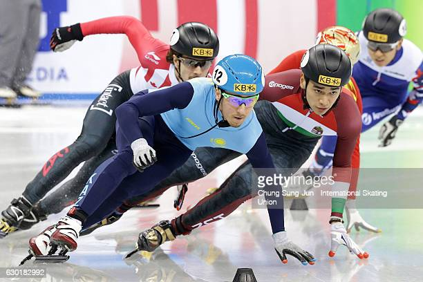 Sandor Liu Shaolin of Hungary and Denis Nikisha of Kazakhstan compete in the Men 500m semifinals during the ISU World Cup Short Track 2016 on...