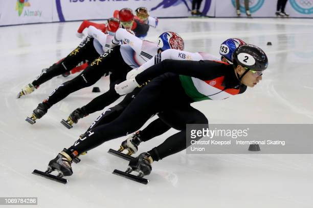 Sandor Liu Shaolin of Hungary competes during the men 1500 meter final A race of the ISU Short Track World Cup Day 1 at Halyk Arena on December 8...