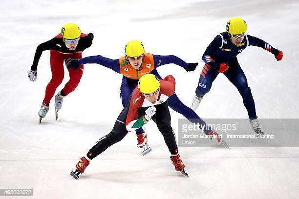 Sandor Liu Shaolin of Hungary leads the pack down the straight during the Men's 5000m Relay final B race on day 2 of the ISU World Cup Short Track...