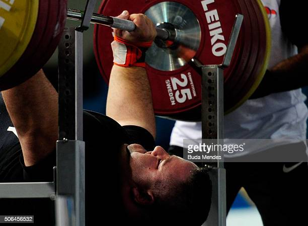 Sandor Sas of Hungary competes during the Men's over 107 kg on the 2016 IPC Powerlifting World Cups Aquece Rio Test Event for the Rio 2016...