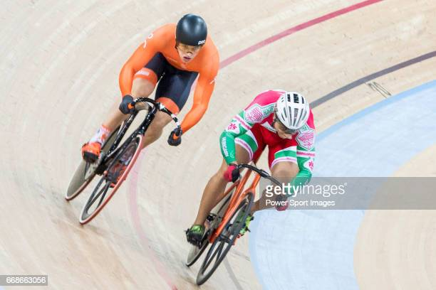 Sandor Szalontay of the Hungary team and Harrie Lavreysen of the Netherlands team compete in the Men's Sprint 1/16 Finals during 2017 UCI World...