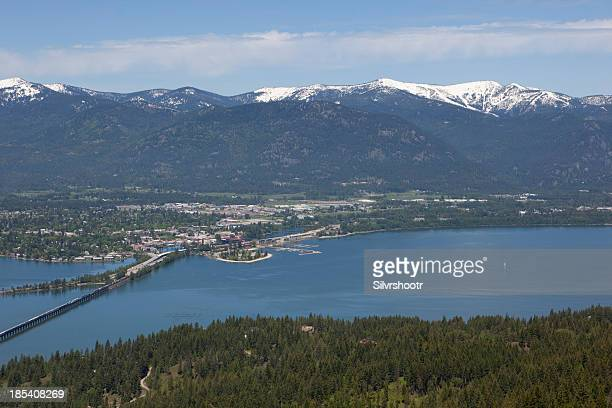 sandpoint, idaho with lake pend oreille and schweitzer - idaho stock pictures, royalty-free photos & images