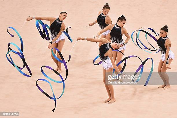 Sandra Aguilar Artemi Gavezou Elena Lopez Lourdes Mohedano and Alejandra Quereda of Spain compete in the Group Apparatus Finals on Day 7 of the...