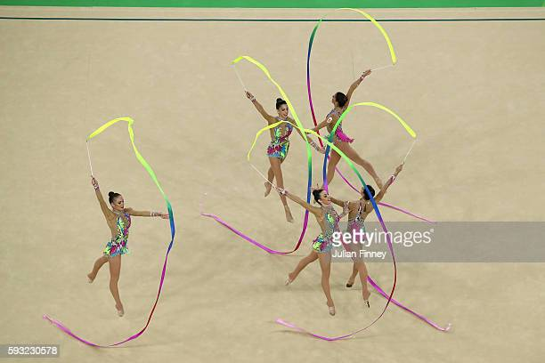 Sandra Aguilar Artemi Gavezou Elena Lopez Lourdes Mohedano and Alejandra Quereda of Spain compete during the Group AllAround Final on Day 16 of the...