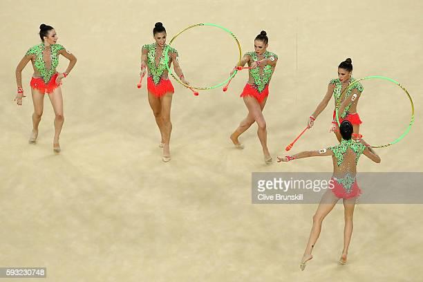 Sandra Aguilar Artemi Gavezou Elena Lopez Lourdes Mohedano and Alejandra Quereda of Spain compete during the Group AllAround Final on Day 16 of the...