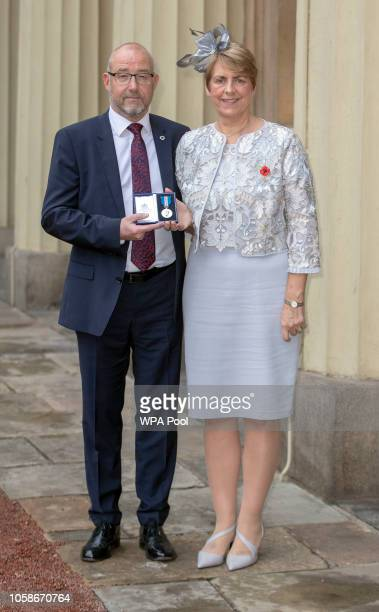 Sandra and Les Jackson leave Buckingham Palace after receiving the Queen's gallantry medal on behalf of their late son Thomas at an Investiture...