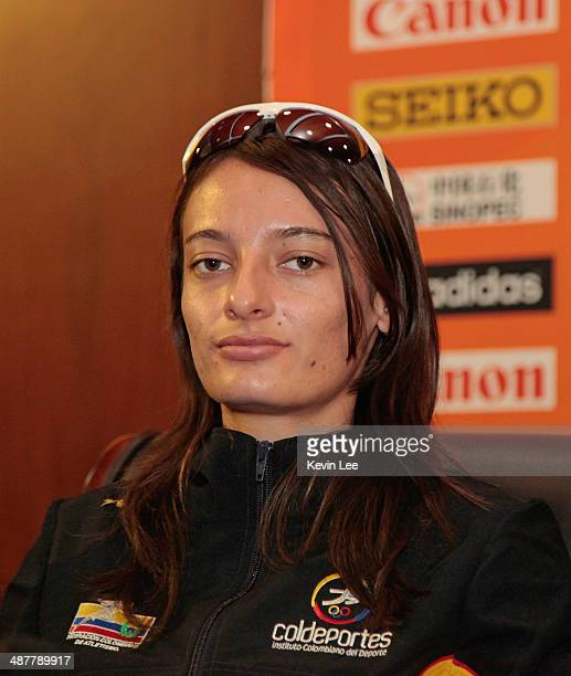 Sandra Arenas of Colombia junior womens 10km gold medallist at 2012 IAAF World Race Walking Cup attends the press conference of the 24th IAAF World...
