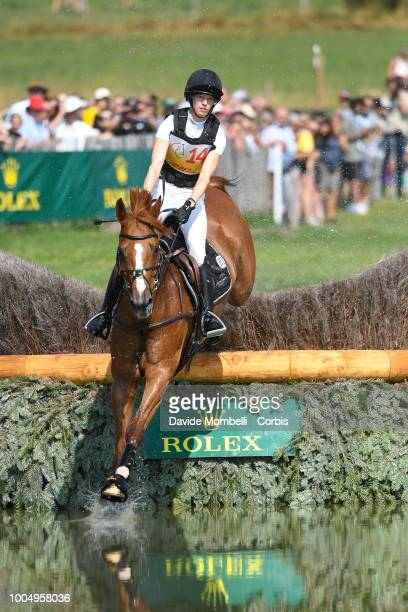 Sandra Auffarth of Germany riding Viamant du Matz during the obstacle in the water of the Cross Country test DHLPrize in the park of the CHIO of...