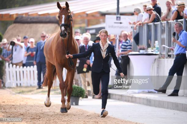 Sandra Auffarth of Germany with Viamant du Matz during the Horse Inspection prior to the Dressage at the Longines FEI Eventing European Championships...