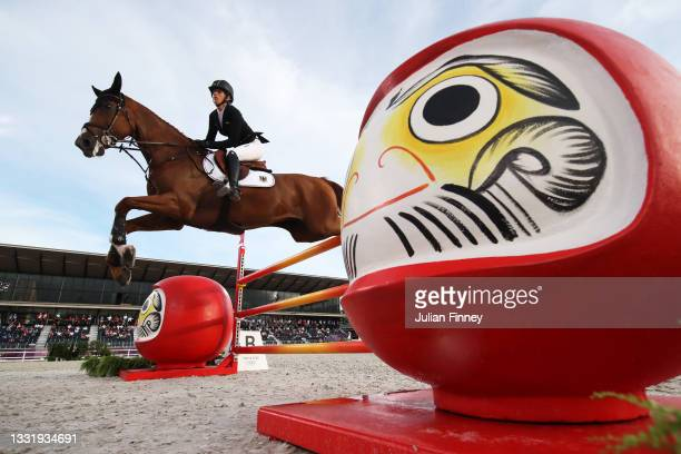 Sandra Auffarth of Team Germany riding Viamant du Matz during the Eventing Jumping Team Final and Individual Qualifier on day ten of the Tokyo 2020...