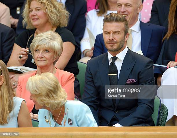 Sandra Beckham and David Beckham attend day ten of the Wimbledon Tennis Championships at Wimbledon on July 9 2015 in London England