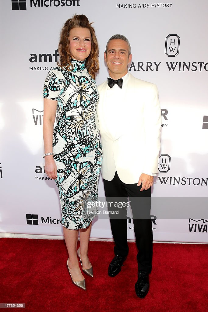 Sandra Bernhard and Andy Cohen attend the 2015 amfAR Inspiration Gala New York at Spring Studios on June 16, 2015 in New York City.