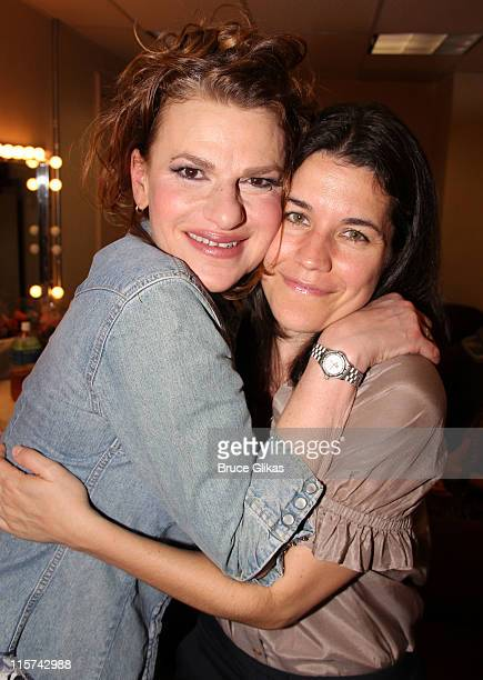 Sandra Bernhard and girlfriend Sara Switzer pose backstage at Sandra Bernhard's I Love Being Me Don't You at Town Hall on June 8 2011 in New York City