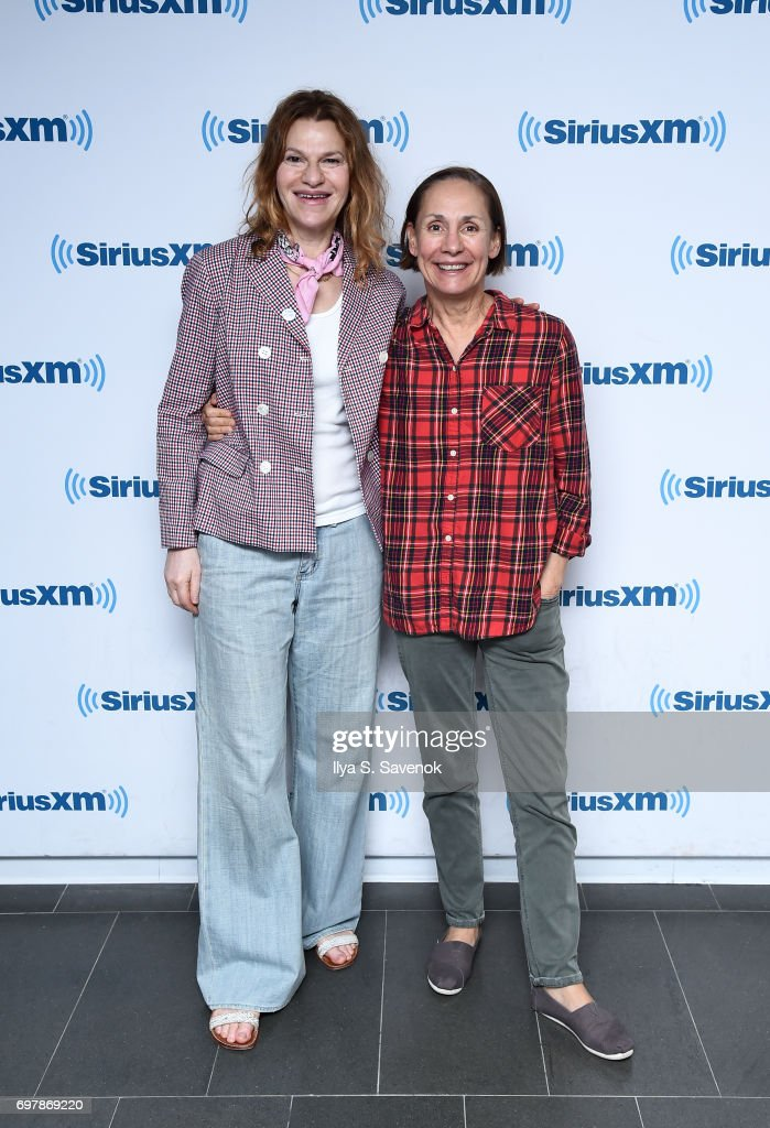 Sandra Bernhard and Laurie Metcalf visit the SiriusXM Studios on June 19, 2017 in New York City.