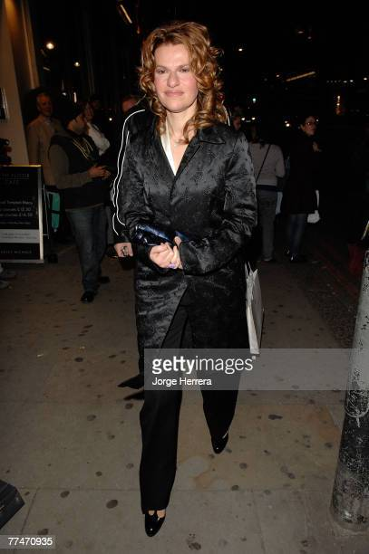 Sandra Bernhard departs the Lisa Hoffman Bath And Shower Range Launch Party at Harvey Nichols on October 23 in London, England.