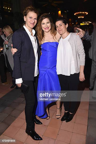 "Sandra Bernhard Kathryn Hahn and Sara Switzer attend the premiere of the SHOWTIME original comedy series ""HAPPYish"" on April 20 2015 in New York City..."