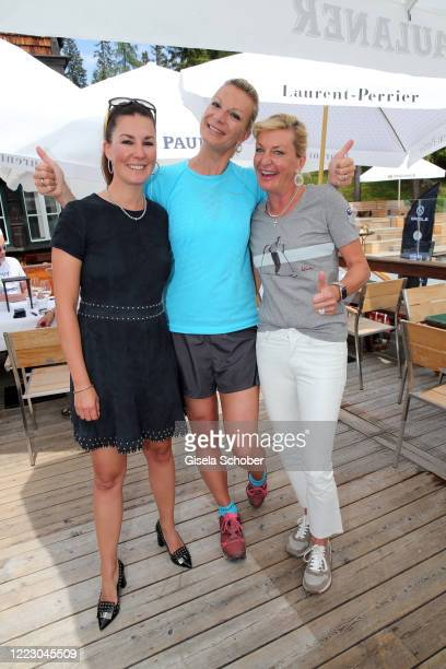"""Sandra Brogle, Maria Hoefl-Riesch, Anita Harisch during the first Ladies Day and start of the """"Queens Club"""" hosted by Maria Hoefl-Riesch on June 26,..."""