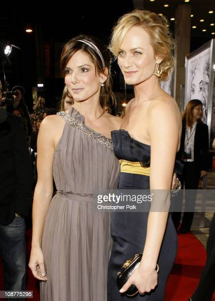 Sandra Bullock and Amber Valletta during 'Premonition' Los Angeles Premiere Red Carpet at Cinerama Dome in Hollywood California United States