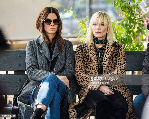 Sandra Bullock and Cate Blanchett are seen filming 'Ocean's 8' on October 31 2016 in Queens borough of New York City