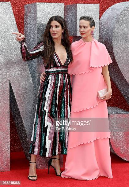 Sandra Bullock and Sarah Paulson attend the 'Ocean's 8' UK Premiere held at Cineworld Leicester Square on June 13 2018 in London England