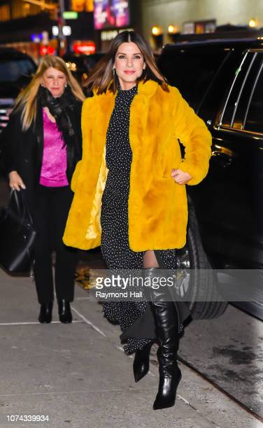 Sandra Bullock arrives at 'The Late Show with Stephen Colbert' at the Ed Sullivan Theater on December 17 2018 in New York City