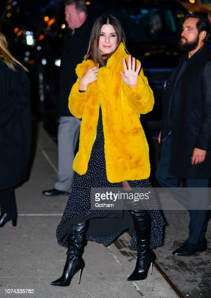 Sandra Bullock arrives at The Late Show with Stephen Colbert on December 17 2018 in New York City