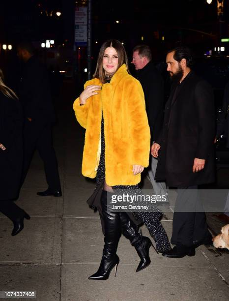 Sandra Bullock arrives to 'The Late Show With Stephen Colbert' at the Ed Sullivan Theater on December 17 2018 in New York City