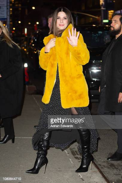 Sandra Bullock at the Late Show with Stephen Colbert on December 17 2018 in New York City