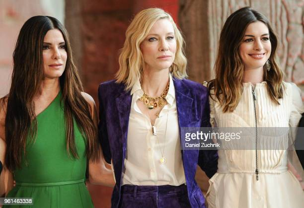 Sandra Bullock Cate Blanchett and Anne Hathaway attend the 'Ocean's 8' worldwide photo call at The Metropolitan Museum of Art on May 22 2018 in New...