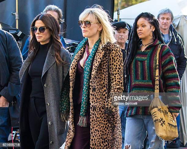 Sandra Bullock Cate Blanchett and Rihanna are seen filming 'Ocean's 8' in Central Park on November 7 2016 in New York City