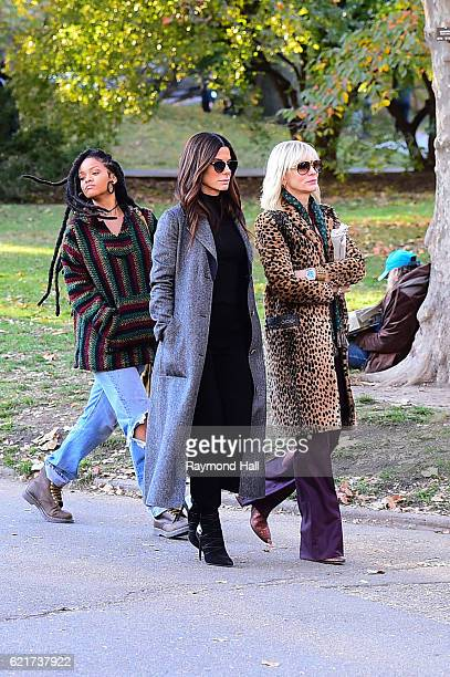 Sandra Bullock Cate Blanchett and Rihanna are seen filming 'Ocean's 8' in Central Park on November 7 2016 in New York City