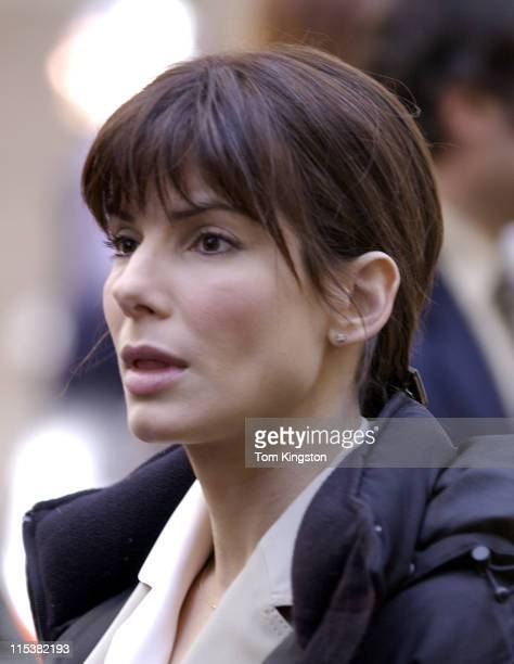 Sandra Bullock during Sandra Bullock and Hugh Grant Filming 'Two Weeks Notice' in New York City on April 11 2002 at 6th Avenue and 49th Street in New...