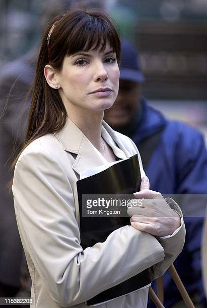 Sandra Bullock during Sandra Bullock and Hugh Grant Filming 'Two Weeks Notice' in New York City on March 11 2002 at Downtown Manhattan in New York...
