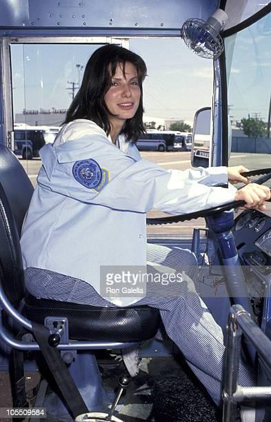 Sandra Bullock during Sandra Bullock Takes Bus Driver Test 'Speed' Promotion at Santa Monica Bus Lines in Santa Monica California United States