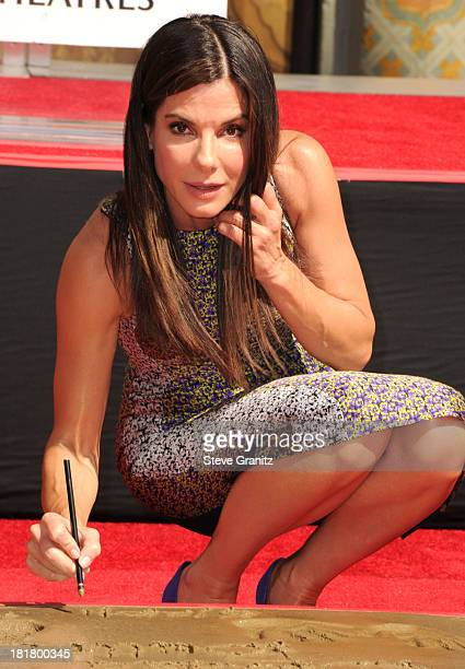 Sandra Bullock Hand And Footprint Ceremony At TCL Chinese Theatre Celebrating The Release Of Her New Film 'Gravity' at TCL Chinese Theatre on...