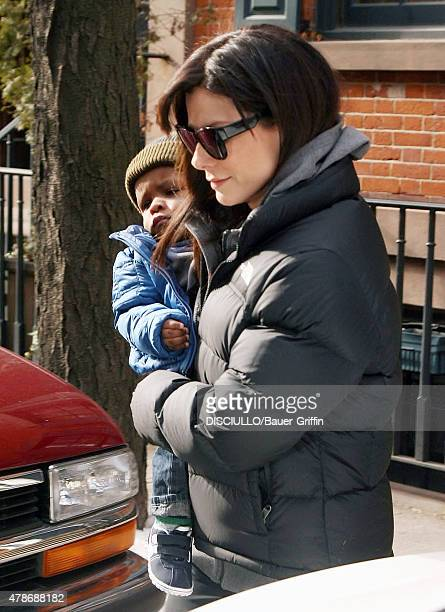 Sandra Bullock is seen carrying her son Louis Bardo Bullock on January 20 2011 in New York City