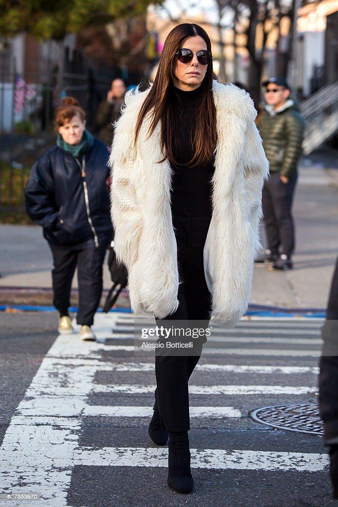 Sandra Bullock is seen on location for 'Ocean's Eight's 8' on December 3, 2016 in New York City.