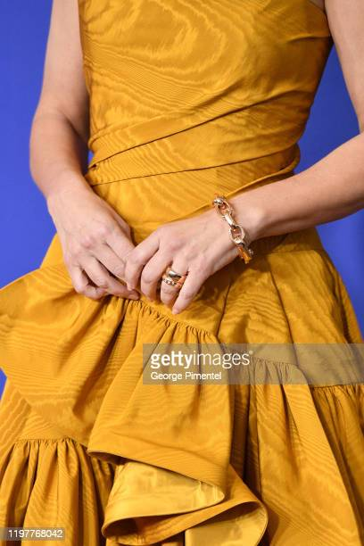 Sandra Bullock jewelry detail poses in the press room during the 77th Annual Golden Globe Awards at The Beverly Hilton Hotel on January 05 2020 in...