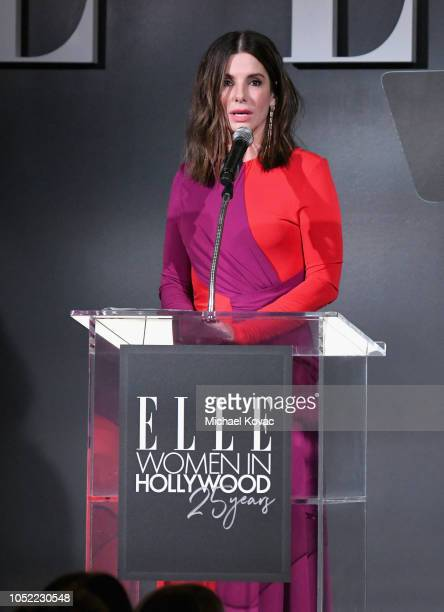 Sandra Bullock speaks onstage during ELLE's 25th Annual Women In Hollywood Celebration presented by L'Oreal Paris Hearts On Fire and CALVIN KLEIN at...