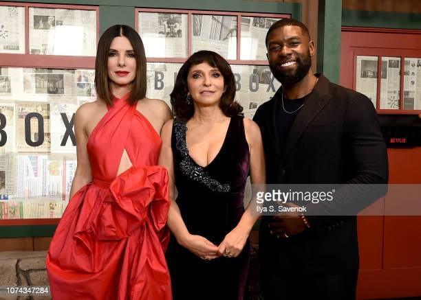 Sandra Bullock Susanne Bier and Trevante Rhodes attend the New York Special Screening Of The Netflix Film BIRD BOX at Alice Tully Hall on December 17...