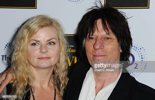 Sandra Cash and Jeff Beck attend the 'Elvis at the 02' exhibition at 02 Arena on December 15 2014 in London England