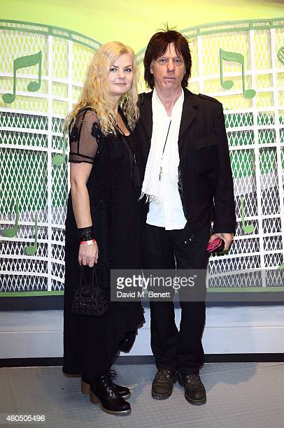 Sandra Cash and Jeff Beck attend the opening of the Elvis At The O2 exhibition at The O2 Arena on December 15 2014 in London England