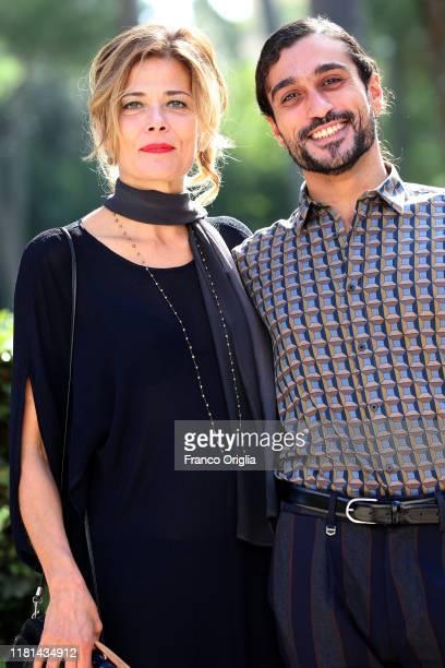 Sandra Ceccarelli and actor Nicola Di Benedetto attend the photocall of the movie Gli Anni Amari at Casa del Cinema on October 16 2019 in Rome Italy